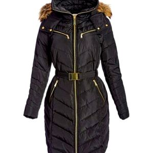 Michael Kors Belted Black Quilted Puffer Coat